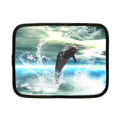 Funny Dolphin Jumping By A Heart Made Of Water Netbook Case (Small)