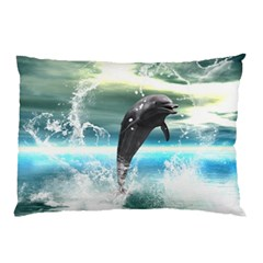 Funny Dolphin Jumping By A Heart Made Of Water Pillow Cases