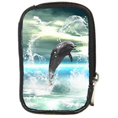 Funny Dolphin Jumping By A Heart Made Of Water Compact Camera Cases