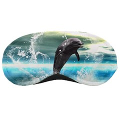 Funny Dolphin Jumping By A Heart Made Of Water Sleeping Masks