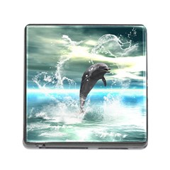 Funny Dolphin Jumping By A Heart Made Of Water Memory Card Reader (Square)
