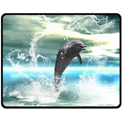 Funny Dolphin Jumping By A Heart Made Of Water Fleece Blanket (Medium)