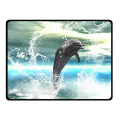 Funny Dolphin Jumping By A Heart Made Of Water Fleece Blanket (Small)
