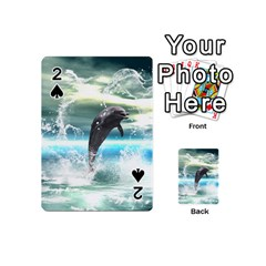 Funny Dolphin Jumping By A Heart Made Of Water Playing Cards 54 (Mini)