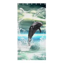 Funny Dolphin Jumping By A Heart Made Of Water Shower Curtain 36  x 72  (Stall)