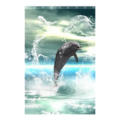 Funny Dolphin Jumping By A Heart Made Of Water Shower Curtain 48  x 72  (Small)
