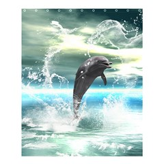 Funny Dolphin Jumping By A Heart Made Of Water Shower Curtain 60  x 72  (Medium)