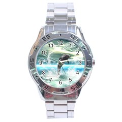 Funny Dolphin Jumping By A Heart Made Of Water Stainless Steel Men s Watch