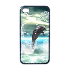 Funny Dolphin Jumping By A Heart Made Of Water Apple iPhone 4 Case (Black)