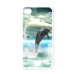 Funny Dolphin Jumping By A Heart Made Of Water Apple iPhone 4 Case (White)