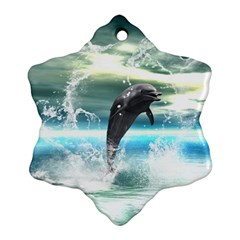 Funny Dolphin Jumping By A Heart Made Of Water Ornament (Snowflake)