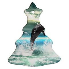 Funny Dolphin Jumping By A Heart Made Of Water Christmas Tree Ornament (2 Sides)