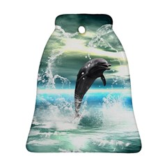 Funny Dolphin Jumping By A Heart Made Of Water Bell Ornament (2 Sides)
