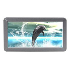 Funny Dolphin Jumping By A Heart Made Of Water Memory Card Reader (Mini)