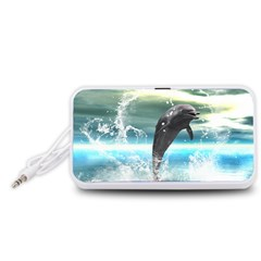 Funny Dolphin Jumping By A Heart Made Of Water Portable Speaker (White)