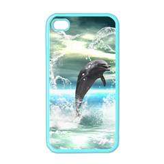 Funny Dolphin Jumping By A Heart Made Of Water Apple iPhone 4 Case (Color)