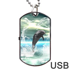 Funny Dolphin Jumping By A Heart Made Of Water Dog Tag USB Flash (One Side)