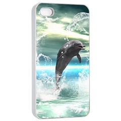 Funny Dolphin Jumping By A Heart Made Of Water Apple iPhone 4/4s Seamless Case (White)