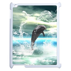 Funny Dolphin Jumping By A Heart Made Of Water Apple iPad 2 Case (White)