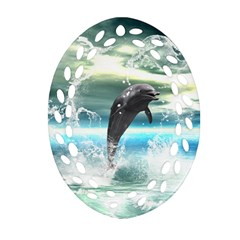 Funny Dolphin Jumping By A Heart Made Of Water Ornament (Oval Filigree)