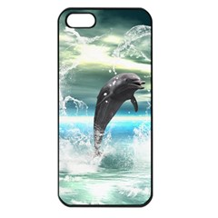 Funny Dolphin Jumping By A Heart Made Of Water Apple iPhone 5 Seamless Case (Black)