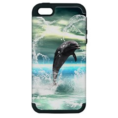 Funny Dolphin Jumping By A Heart Made Of Water Apple iPhone 5 Hardshell Case (PC+Silicone)