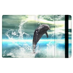 Funny Dolphin Jumping By A Heart Made Of Water Apple iPad 2 Flip Case