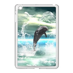 Funny Dolphin Jumping By A Heart Made Of Water Apple iPad Mini Case (White)