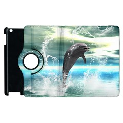 Funny Dolphin Jumping By A Heart Made Of Water Apple iPad 2 Flip 360 Case