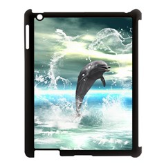 Funny Dolphin Jumping By A Heart Made Of Water Apple iPad 3/4 Case (Black)