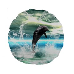 Funny Dolphin Jumping By A Heart Made Of Water Standard 15  Premium Round Cushions