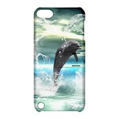 Funny Dolphin Jumping By A Heart Made Of Water Apple iPod Touch 5 Hardshell Case with Stand