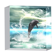 Funny Dolphin Jumping By A Heart Made Of Water 5  x 5  Acrylic Photo Blocks