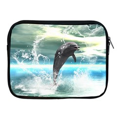 Funny Dolphin Jumping By A Heart Made Of Water Apple iPad 2/3/4 Zipper Cases