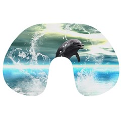 Funny Dolphin Jumping By A Heart Made Of Water Travel Neck Pillows