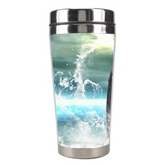 Funny Dolphin Jumping By A Heart Made Of Water Stainless Steel Travel Tumblers