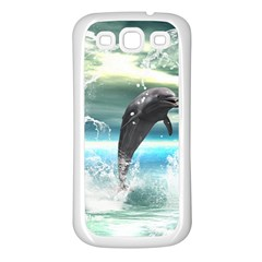 Funny Dolphin Jumping By A Heart Made Of Water Samsung Galaxy S3 Back Case (White)