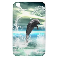 Funny Dolphin Jumping By A Heart Made Of Water Samsung Galaxy Tab 3 (8 ) T3100 Hardshell Case