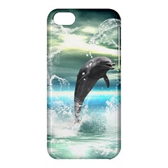 Funny Dolphin Jumping By A Heart Made Of Water Apple iPhone 5C Hardshell Case