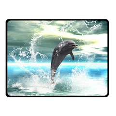 Funny Dolphin Jumping By A Heart Made Of Water Double Sided Fleece Blanket (Small)