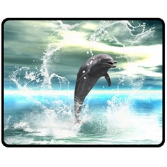 Funny Dolphin Jumping By A Heart Made Of Water Double Sided Fleece Blanket (Medium)