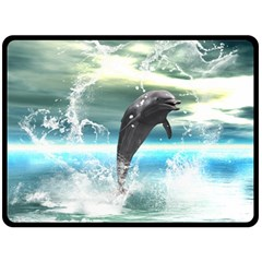 Funny Dolphin Jumping By A Heart Made Of Water Double Sided Fleece Blanket (Large)