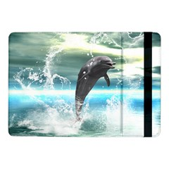 Funny Dolphin Jumping By A Heart Made Of Water Samsung Galaxy Tab Pro 10 1  Flip Case