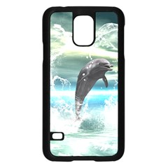 Funny Dolphin Jumping By A Heart Made Of Water Samsung Galaxy S5 Case (Black)