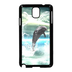 Funny Dolphin Jumping By A Heart Made Of Water Samsung Galaxy Note 3 Neo Hardshell Case (Black)