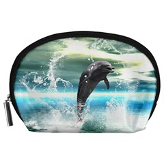 Funny Dolphin Jumping By A Heart Made Of Water Accessory Pouches (large)