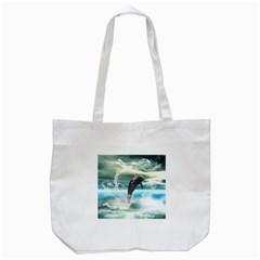 Funny Dolphin Jumping By A Heart Made Of Water Tote Bag (White)
