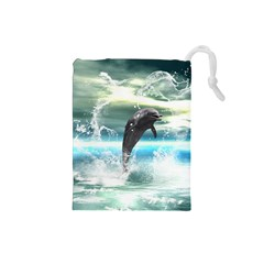 Funny Dolphin Jumping By A Heart Made Of Water Drawstring Pouches (Small)