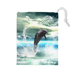 Funny Dolphin Jumping By A Heart Made Of Water Drawstring Pouches (large)