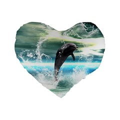 Funny Dolphin Jumping By A Heart Made Of Water Standard 16  Premium Flano Heart Shape Cushions